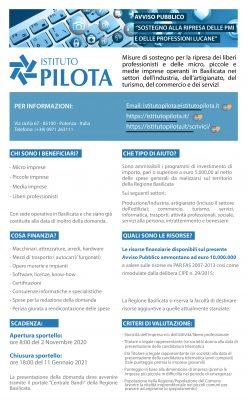 Bando Istituto Pilota Avviso Pubblico per il Sostegno alla ripresa delle PMI e delle Professioni Lucane